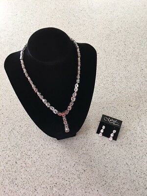 Mariell Glamorous CZ Bridal Necklace Oval Cut with Matching Drop Earrings