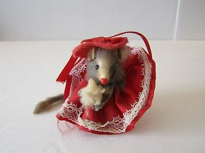 Vintage Original Fur Animals Toy Mouse Red Dress And Hat West Germany
