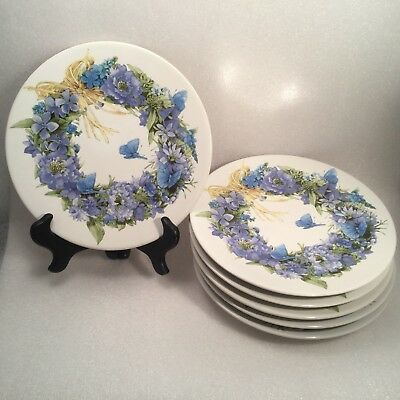 Marjolein Bastin Plates (6) Blue Skies Collection Wreath Butterfly Hallmark 1995