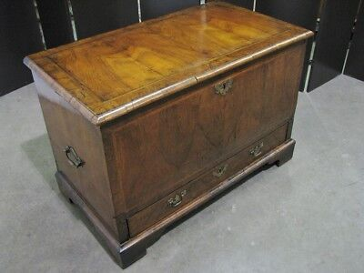 Late 18th Century English Mule Chest; Walnut Veneers & Inlay