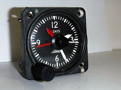 Revue Thommen Aircraft Cockpit Clock 8 Day Chronometer  Working Sweep Seconds
