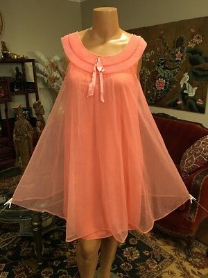 Vintage Sears Coral Pink Chiffon Babydoll Nightgown Large XL 42 Bust Pleated Nec