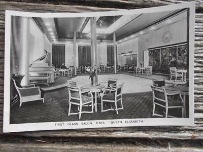 C 1940 's RMS Queen Elizabeth Cunard Line First class salon drink postcard ship