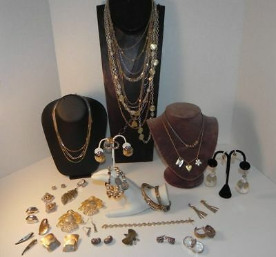 Costume Fashion Jewelry Lot Two Tone Metals Silver Tone & Gold Tone Good Variety