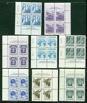 Canadian Critters #322, 323, 324, 335, 336, 352, 360, 361, all in Plate Blocks.