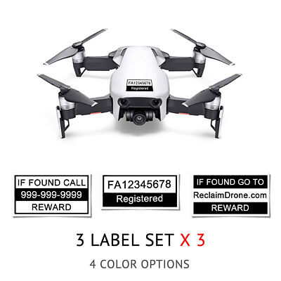 DJI Mavic Air - White - Drone Labels, FAA UAS Registration and Phone Number