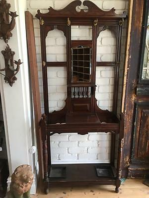 Original Excellent Condition EdwardianTimber Hall Stand! STUNNING MIRROR & HOOKS