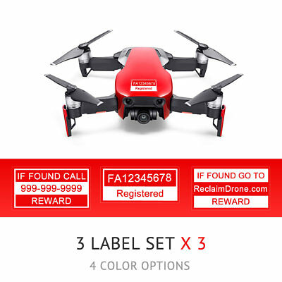 DJI Mavic Air - Flame Red - Drone Labels, FAA UAS Registration and Phone Number
