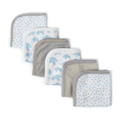 The Little Linen Co Towelling Washers - Blue Elephant Spot - 6 Pack