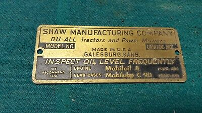 Shaw tractor brass name tag nos.