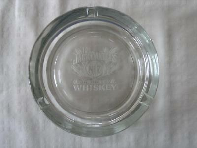 JACK DANIELS VINTAGE OLD No. 7 WHISKEY ETCHED HEAVY GLASS ASHTRAY