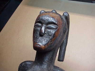 "#763 Antique African Fang Tribal 21"" Wood Figure Dreadlocks Reliquary Statue Fem"