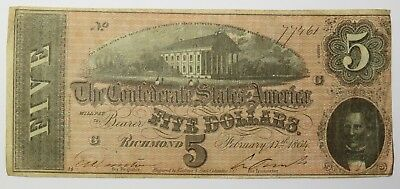 1864 $5 Confederate States of America US Currency Note Bill #17037F