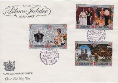 1977 Silver Jubilee collection of 3 Cook Islands FDCs