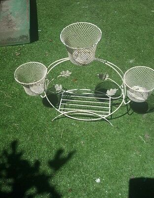 Vintage  metal retro kitsch pot planter  stand shabby chic french provincial