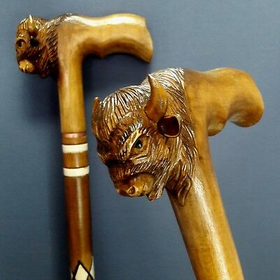Bison Hand Carving Cane Walking Stick Wooden Unique Handmade Cane Hiking Stick