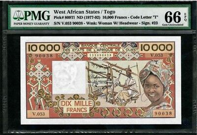 West African States Togo 10000 FRANCS 1977 / PMG-66 GEM UNCIRCULATED EPQ