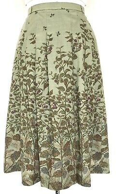 Vintage Olive Green Blue Rust Burgundy Leaf Print Skirt 14