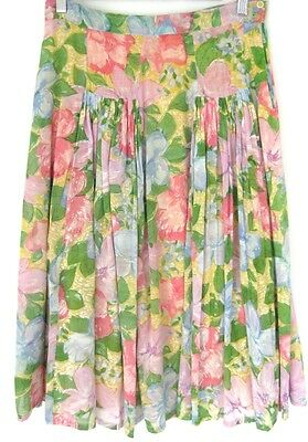 Vintage Ishwar Paris Pink Yellow Blue Green Purple Side Buttons Skirt 10