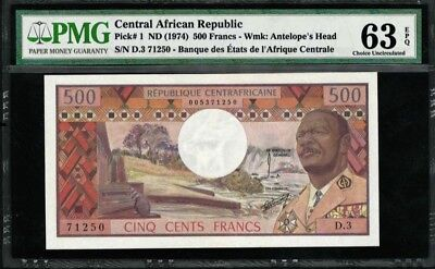 Central African Republic 500 FRANCS 1974 / PMG-63 CHOICE UNCIRCULATED VERY RARE