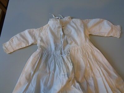Victorian Edwardian Christening Gown Heavy Cream Cotton Long Sleeved Aprox 3-6