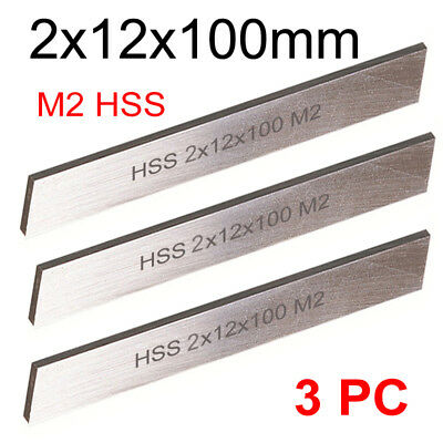3 PC HSS Parting Off Blade 2x12x100mm M2 High Speed Steel Fully Gound Tool Bits