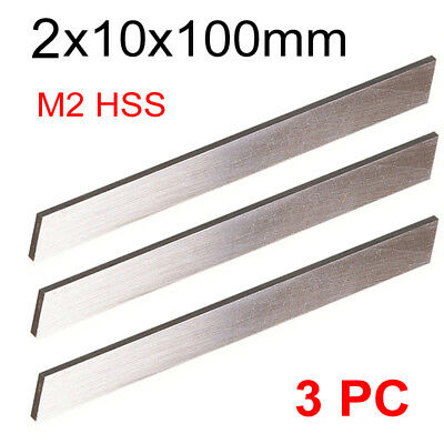 3 PC HSS Parting Off Blade 2x10x100mm M2 High Speed Steel Fully Gound Tool Bits