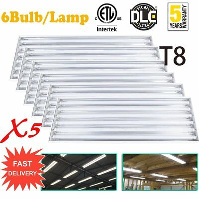 QTY(5) 6Bulb/Lamp T8 LED High Bay for Warehouse Shop Commercial Light Fixture EO