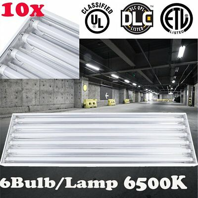 10X 6LAMP T8 FLUORESCENT LIGHT FIXTURE for SHOP MOYL WAREHOUSE GYM PLANTS LOT EO