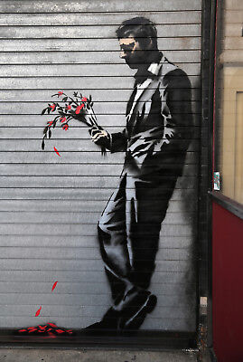Banksy Waiting In Vain Graffiti Canvas Picture Poster Print Unframed #a364