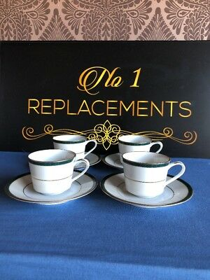 4 x Boots (Noritake) Hanover Green Coffee Espresso Cups And Saucers