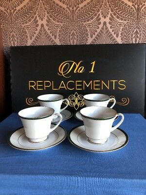 4 x Boots (Noritake) Hanover Green Tea Cups And Saucers 2 Sets Available