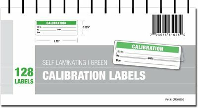 Calibration Labels Self Laminating with Spiral Bound Cover Green New Clear Seals