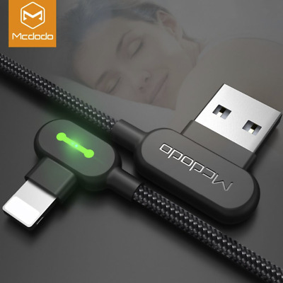 Mcdodo Right Angle Game Cable Sync Chaging Data USB LED Cord iPhone X/8/7/6/5