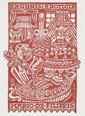 Max KISLINGER Eroticis Exlibris Erotic Culinary Treats Phallic Food 67 Bookplate