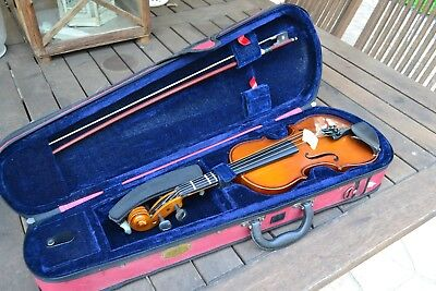 Violin Stentor Student Ii 1/2 Size Half Handmade In England Hair Bow  Chin Rest