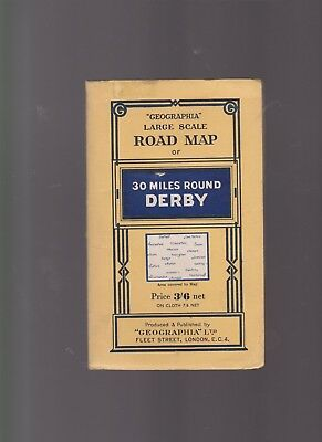 Geographia Large Scale Road Map of 30 Miles Around Derby