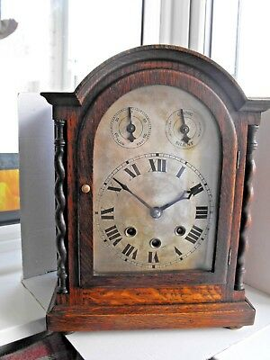 ANTIQUE  OAK THREE TRAIN 8 DAY WESTMINSTER CHIME BRACKET CLOCK-spares repairs