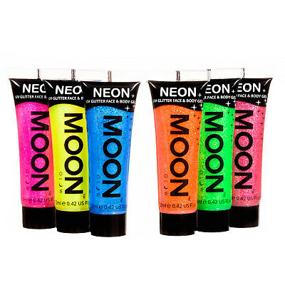 Moon Glow UV Glitter Face & Body Paint - Choose From 6 Colours - Festival Party