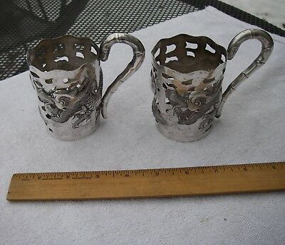 PAIR Antique CHINESE EXPORT SILVER Cup Holders-Repousse DRAGON Decoration-Marked
