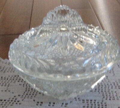 Antique Covered  Glass Trinket Box-Covered Candy Dish