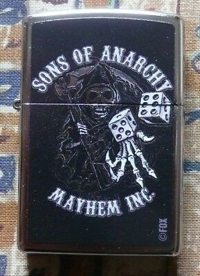 Skulls Sons Of Anarchy Reaper & Dice Zippo Lighter Free P&p Free Flints