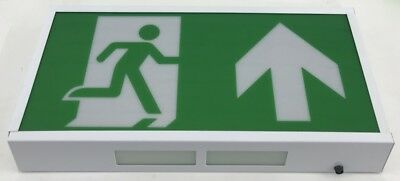 Led Emergency Exit Light Running Man Sign 3Hr Maintained Over Door White