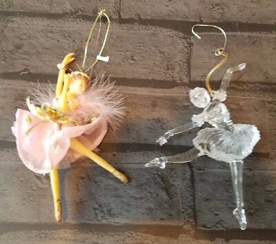 Ballerina Christmas Ornaments set of 2 glass and ceramic