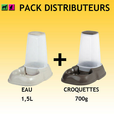 Lot de 2 grands distributeurs eau et croquettes