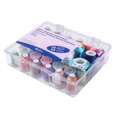 Hemline Thread Box and Storage Organiser Complete with 50 Spools of Thread