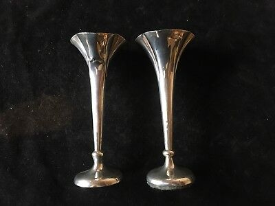 Pair Of Sterling Silver Bud Or Spill Vases. Hallmarked 1903