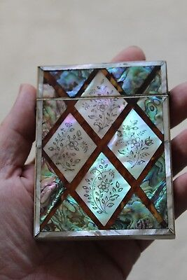 """VERY FINE VICTORIAN M.O.P & FAUX TORTOISESHELL CARD CASE """"Miss Morley"""""""