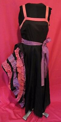 Vintage Black, Purple & Pink Can-Can Ruffled Taffeta Formal Dress