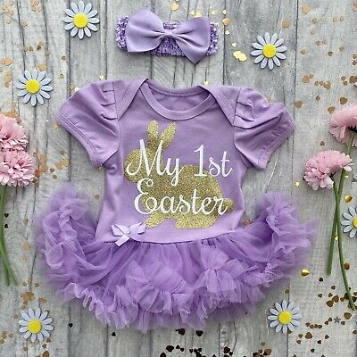 BABY GIRLS My 1ST EASTER Tutu Romper Dress Gold BUNNY Newborn Princess GIFT Cute